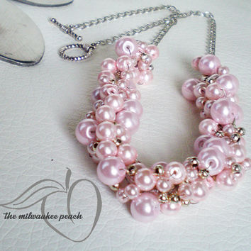 Pink Glass Pearl Necklace Pink Pearl Statement Necklace Pastel Pink Glass Pearl Bridesmaid Necklace  Bubblegum Pink Necklace