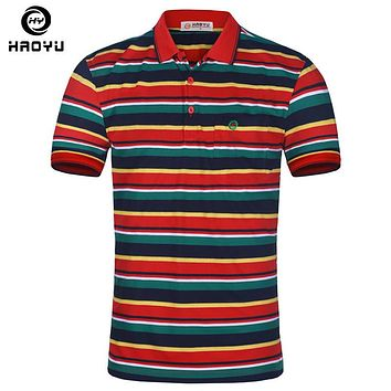 Men Slim Polyester Polo Multi Striped Short Sleeve Shirt for Men Casual Polo Shirt Clothing