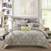 LOVO Palace Athena 100% Cotton 300-Thread-Count 4 Pieces Bedding Set 1x Duvet Cover 1x Flat Sheet 2x Shams Grey Queen