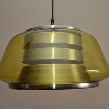 Space age 70s modernist glass hanging lamp by Doria Germany, Eames, Raak Fog Morup era