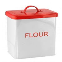 White And Red Kitchen Canister For Flour