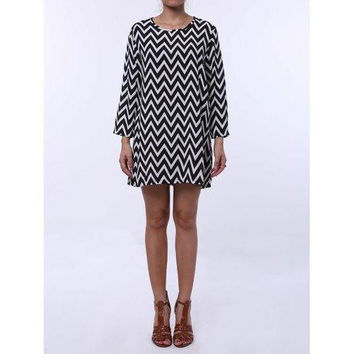Casual Style Round Neck Long Sleeve Printed Loose-Fitting Women's Dress