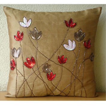 Tulip Sparkle - Throw Pillow Covers - 16x16 Inches Silk Pillow Cover with Sequin Embroidery