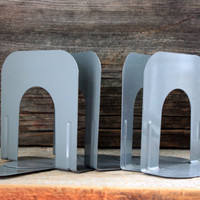 4 vintage metal bookends gray : library style bookends industrial office  4pcs