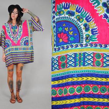 India COTTON vtg 70's tent DRESS paper thin Ethnic DASHIKI angel sleeve native caftan