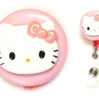 Hello Kitty Decorative Badge Holder (Pink bow on Pink)