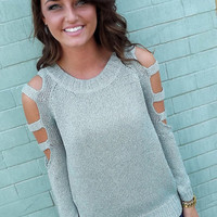 Metallic Mint Distressed Sweater | The Rage