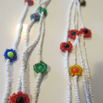 Long White Seed Bead Flower Necklace- Layering Necklace