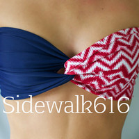 Navy and Red Chevron Bandeau Top Spandex Bandeau Bikini Swimsuit American Bikini