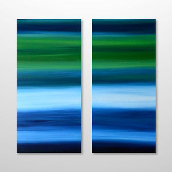Large 36 x 36 Original Abstract Landscape Seascape Diptych Painting - Acrylic Canvas Wall Art Home Decor - Bright Blue, Green - HUGE Square