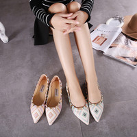 Flat Pointed Toe Rivet Striped Multi-color Colorful Flats Stripes Shoes = 4804972100