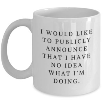 Sarcastic Coffee Mug: I Would Like To Publicly Announce That I Have No Idea What I'm Doing - Birthday Gift - Christmas Gift - Perfect Gift for Sibling, Parent, Relative, Best Friend, Coworker, Roommate