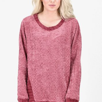 Oversized Soft Knit + Side Contrast Sweater {Dk. Mauve}