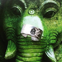 Ganesh hammered aluminium 3/8 wide inch cuff yogi  ring to attract abundance,  success, courage and strength
