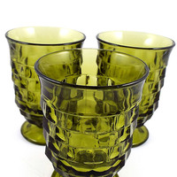 Olive Green Juice Glasses, Vintage Indiana Glass, Whitehall Colony, Cubist, Small Footed, 5 oz, Set of 3