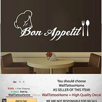 Bon Appetit Wall Sticker Decals Spoon and Fork Vinyl Decal Art Home Decor Cafe Kitchen Restaurant Bedroom MS109 (9 x 22)
