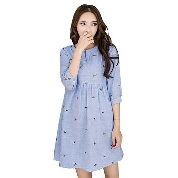 Maternity Nursing Dress Blue Striped Embroidery Pattern Shirt Dresses Loose Plus Size Pregnant Women Clothes Breastfeeding Tops