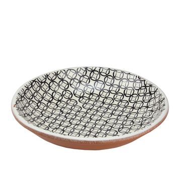 Basic Luxury Decorative Black Circled Diamonds on White Terracotta Bowl 12.25""