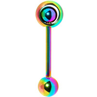 Rainbow Titanium Orbital Barbell Tongue Ring | Body Candy Body Jewelry