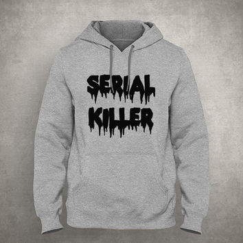 Serial killer - Dripping & Melting style - Gray/White Unisex Hoodie - HOODIE-025