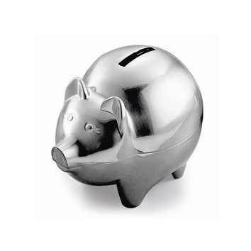 Pewter Finish Pig Bank - Engravable Personalized Gift Item