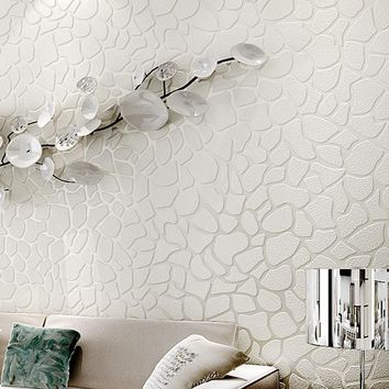 3D Embossed White Stone Wallpaper Bedroom Living Room Sofa TV Background Wall Paper