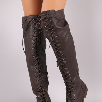 Round Toe Lace Up Combat Over-The-Knee Boots