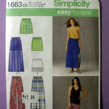 "Pull-On Skirts And Pants Or Shorts Simplicity 1663 Misses' Size 4, 6, 8, 10, 12 Waist 22, 23, 24, 25, 26"" Easy to Sew Sewing Pattern Uncut"