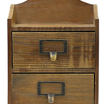"JustNile 10"" Mini Hangable/Desk Top Wooden Dresser with Drawers"