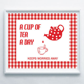 Kitchen Printable Art, Tea Print Decor, Retro Tea Quote, Red Retro Pattern, Kitchen Gift Decor, Tea Party Idea Decoration, Cute Retro Poster