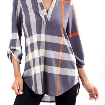 Grey V-Neck 3/4 Sleeve Large Plaid Top *MADE IN USA*