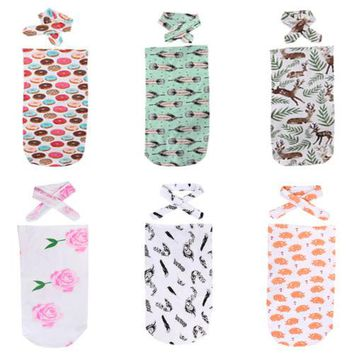 New 2Pcs Cute Newborn Baby Floral Feather Print Sleeping Bag Blanket Swaddle Warm Sleep Stroller Wrap+Headband 0 to 24M