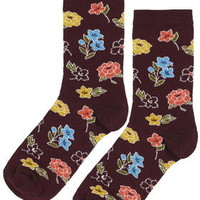 Mixed Floral Ankle Socks - Burgundy