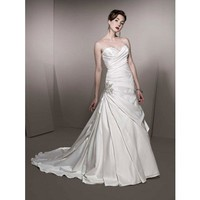 Chic A-line sleeveless satin wedding dress