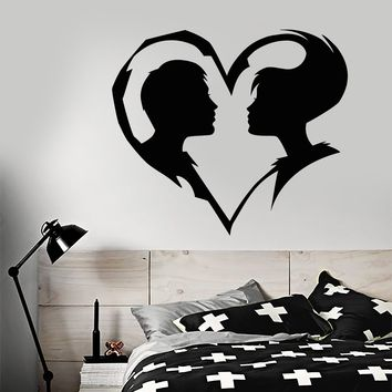Vinyl Wall Decal Abstract Love Heart Symbol Guy And Girl Man Woman Stickers (2673ig)