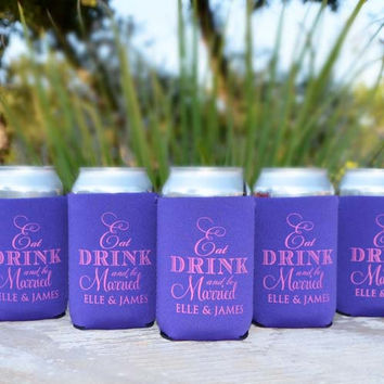 Personalized Eat Drink and Be Married Wedding Koozies