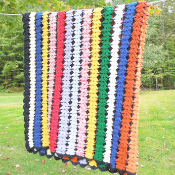 """Vintage crochet afghan blanket throw in colorful stripes with black border 53"""" x 47"""""""
