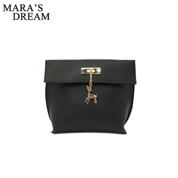 Mara's Dream 2017 New Retro Women Messenger Bags Candy Color Shell Bag Casual Leather Handbag Party Purse with Hardware Deer Bag