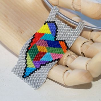 Crazy Quilt Heart ... Pendant . Necklace . Peyote . Beadwoven . Multicolor . Colorful . Abstract . Original Design