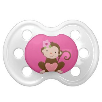 Pink Monkey Girl Baby Gift BooginHead® Pacifier