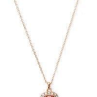 FOREVER 21 Rhinestoned Pendant Necklace Peach/Gold One
