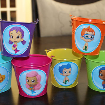 Bubble Guppies Set of 6 Colorful Tin Pails Party Favor Containers