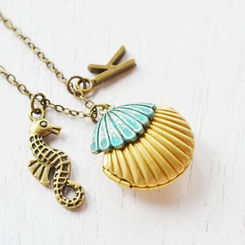 seashell locket clam shell locket pendant,patina mermaids shell locket,personalised necklace,sea horse necklace,ocean nautical,initial gift
