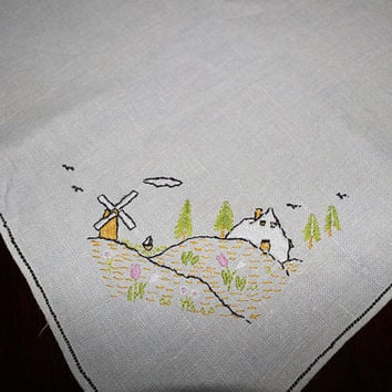 Vintage Square Linen with Windmill Embroidery Tablecloth or Table Topper, L106