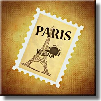 Eiffel Tower Stamp Picture on Stretched Canvas, Wall Art Décor, Ready to Hang