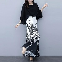 2019 New Fashion Elegant Office Ladies Work Wear Dress Wide Leg Pant Suits 2 Piece Set Women Black Blouse Floral Skirt Pants