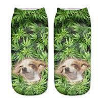 New! 3D Funny Dogs in Weed Ankle Socks For Women