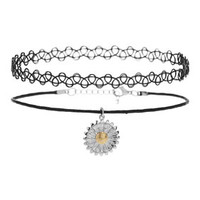 Tattoo And Flower Charm Choker - Black
