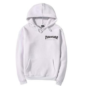 Thrasher Quality hooded sweater flame slide hip sweater Letters on the side White