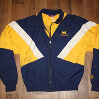 Vintage Vtg CHAMPION Mens Small Michigan Wolverines Full Zip Windbreaker Jacket Blue Nyon